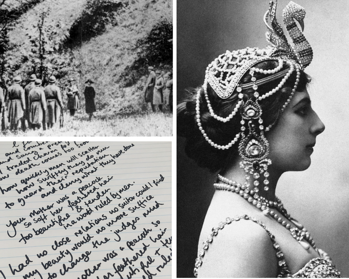 Top Left: Mata Hari's execution (1917) Right; Mata Hari, exotic dancer Bottom Left; lyrics to title track Your Mother Was A Peacock