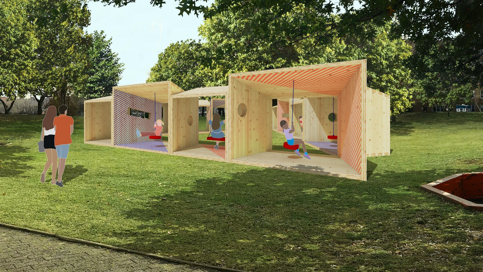 Swing structures made of salvaged cross-laminated timber form a pavilion for a summer arts festival on Roosevelt Island.