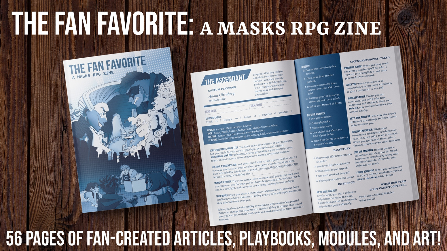 An old-school fan-made, DIY collaborative RPG Zine for Masks: A New Generation, by Magpie Games.
