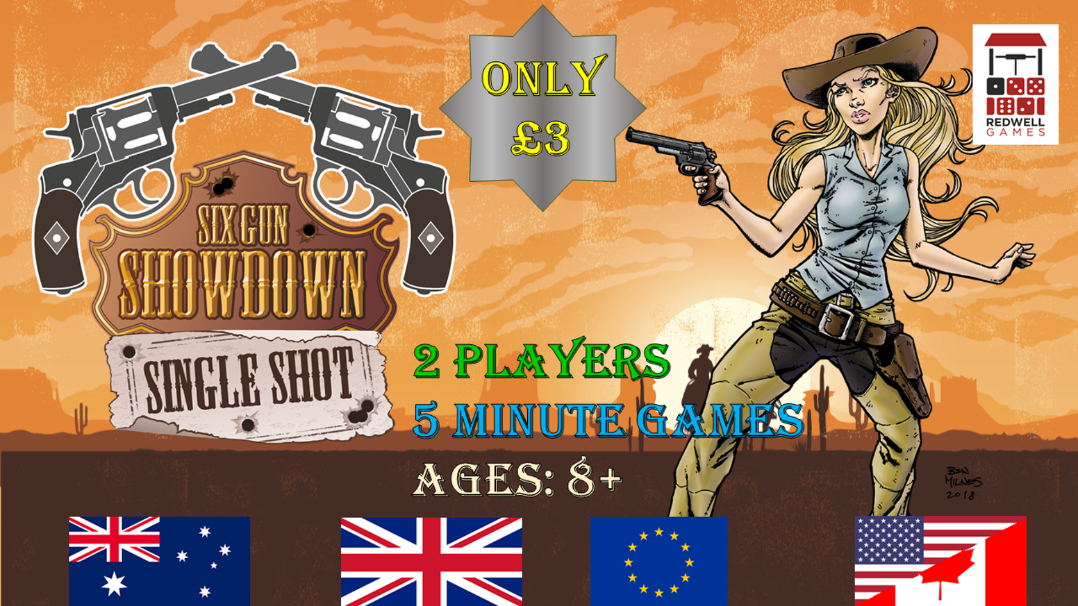 A fast playing card and dice game of Wild West shootouts. This is a fully playable reduced size preview version of the final game.