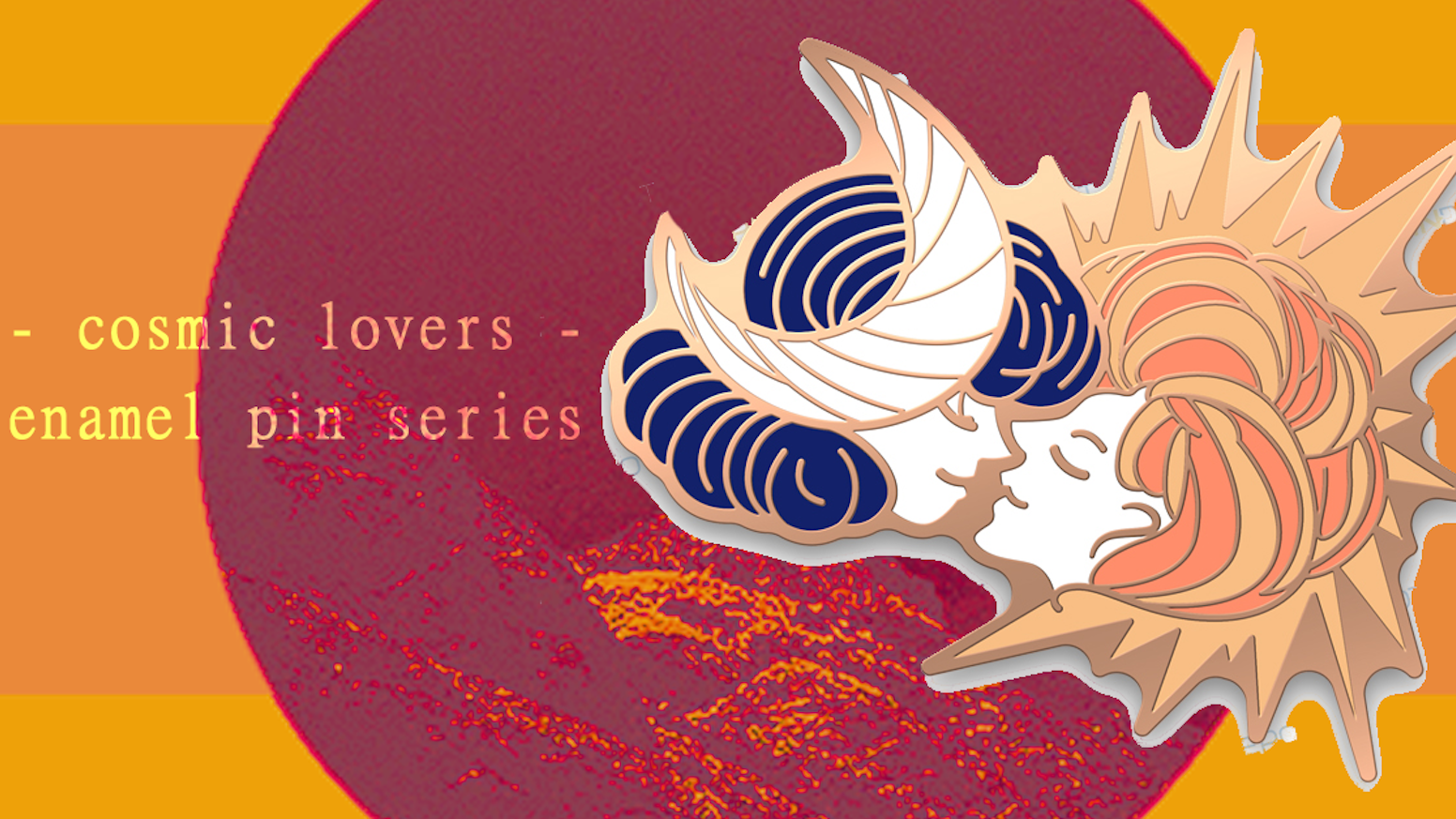 a series of enamel pins focusing on cosmic lovers of the lgbtq variety