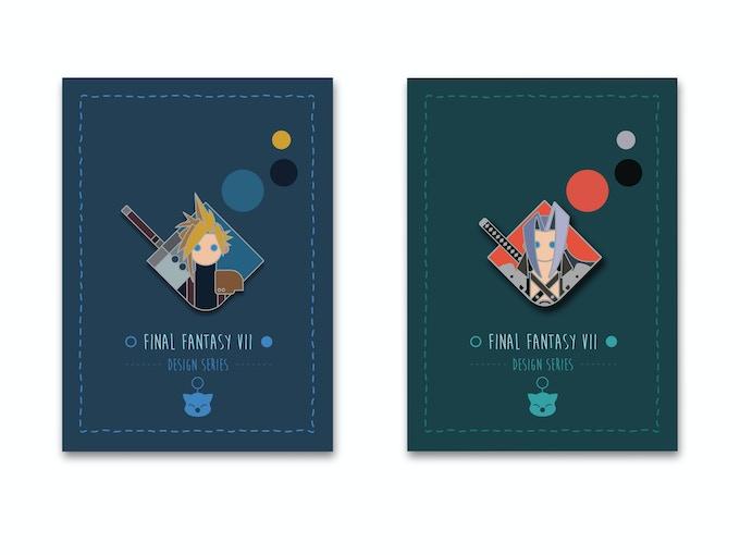 Cloud and Sephiroth pins w/custom designed card back