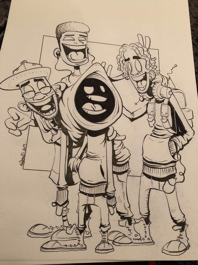 Hoody sketch featuring his creative team, Chris (writer, right), Karl (artist, left), and Sambas (colorist, middle)