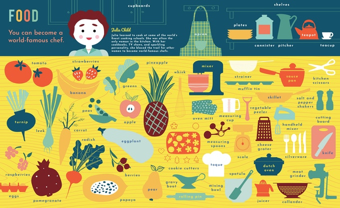 Sample pages: Learn the names of fruits, vegetables, and kitchen utensils with the inimitable Julia Child!