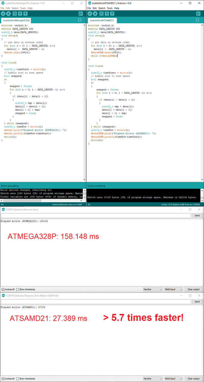 Bubble sort comparison between Arduino Uno (ATMEGA328P) and uChip (ATSAMD21).