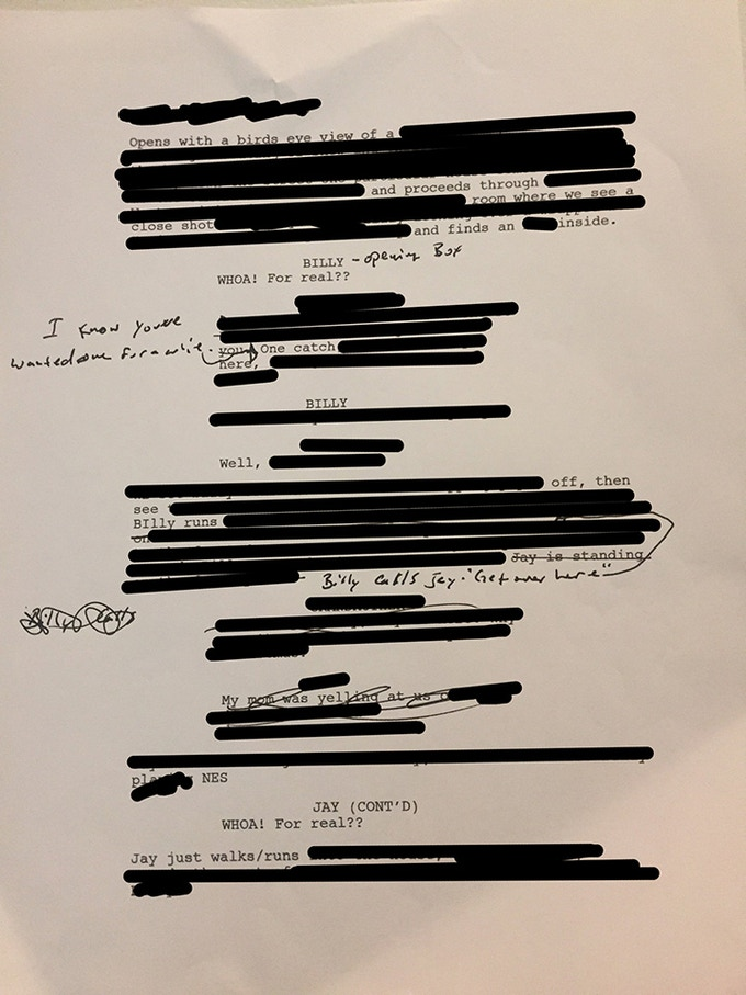 This is censored pic of an actual page of the actual script. Your page will have no black bars