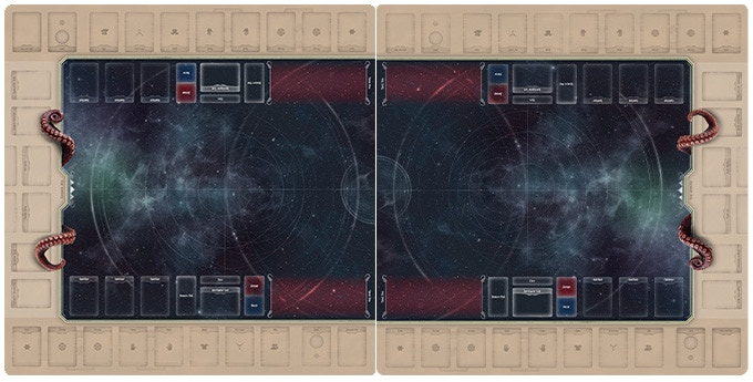 2 Cthulhu Playmats are used for 1-4 Players