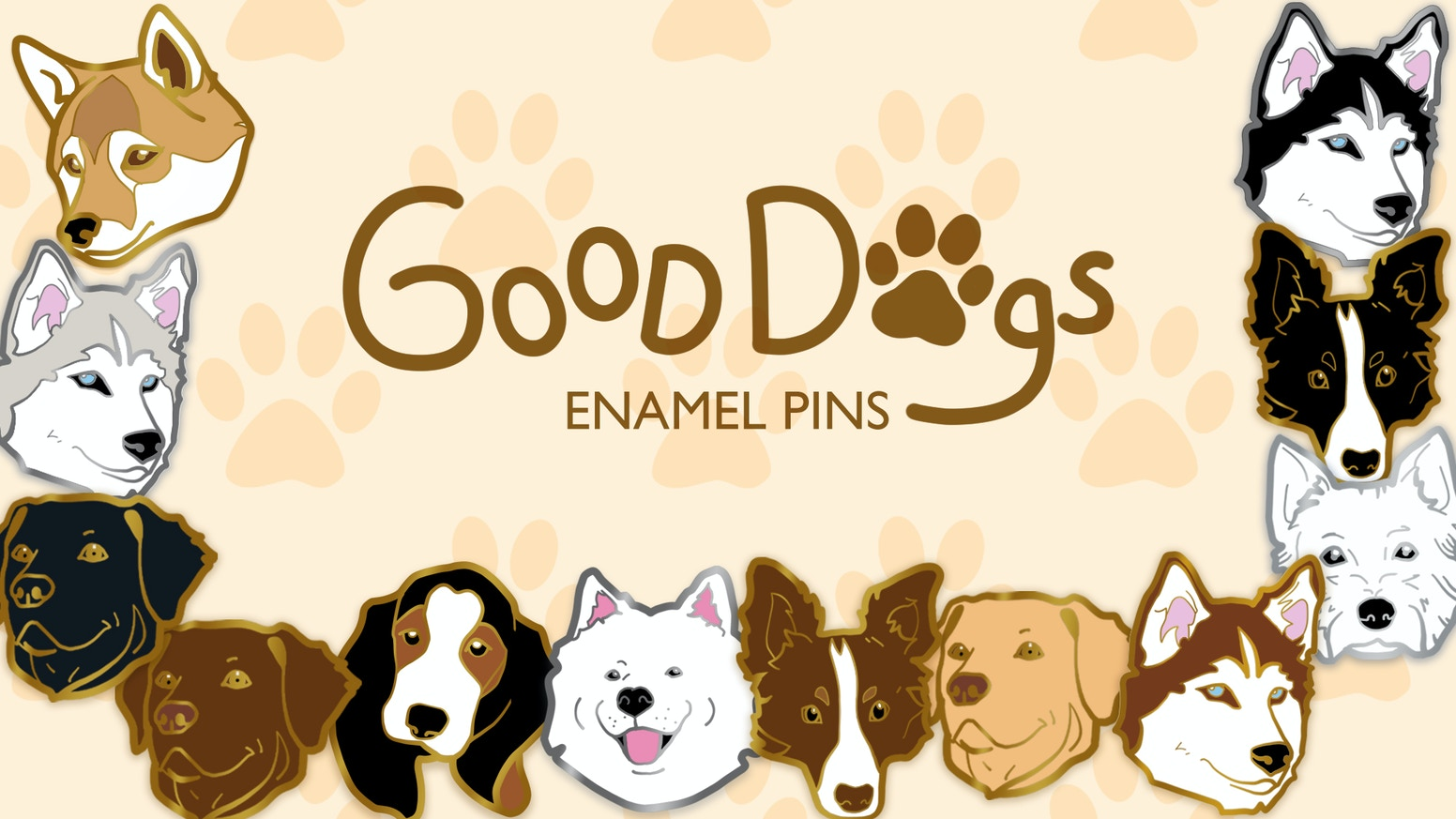 The sequel to the Good Dogs Enamel Pin Collection Kickstarter - here is Good Dogs 2 with 7 new breeds and 12 new designs!