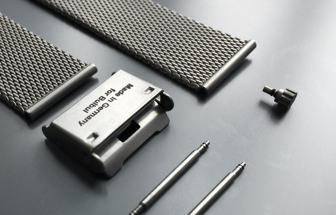 German-made steel mesh band and matte crown samples.