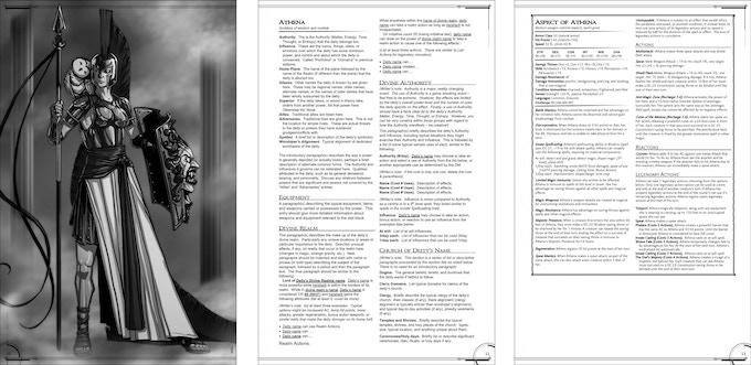 Sample Deity:  Athena ( 3 of 5 page spread)