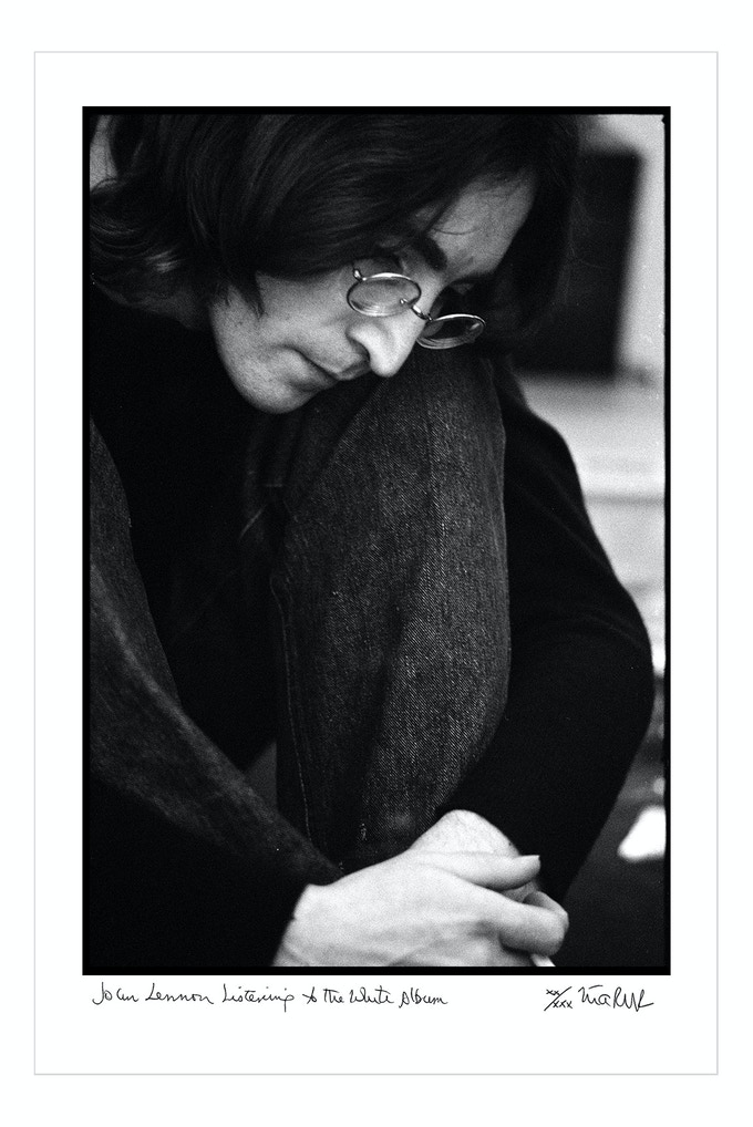 John Lennon Listening to the White Album 1968. Signed, limited edition, digital archival print. Limit 4