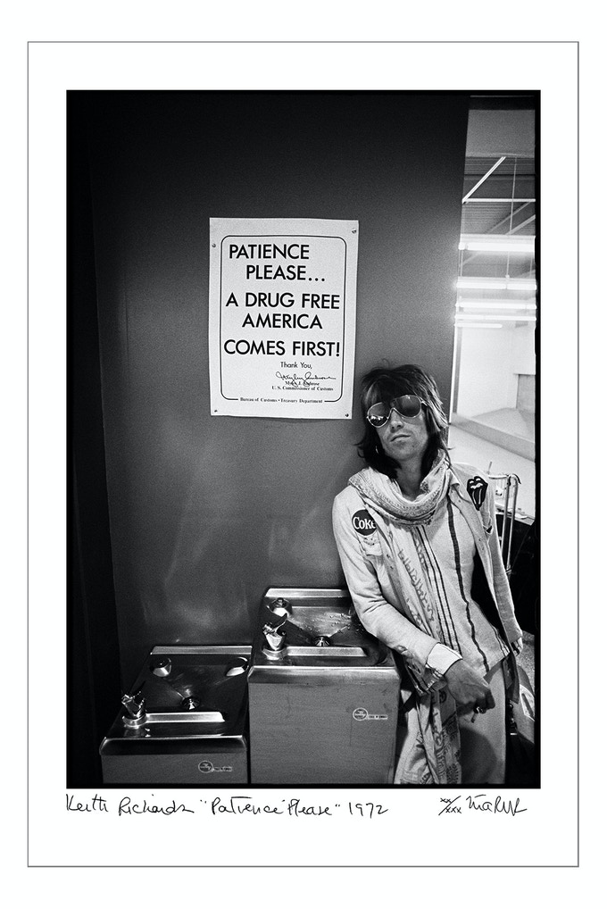 "Keith Richards ""Patience Please 1972."" Signed, limited edition, digital archival print. Limit 4"