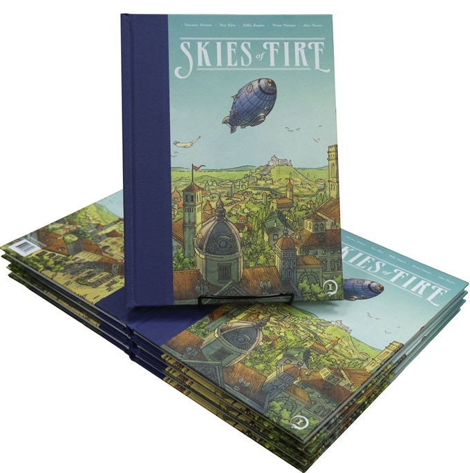 Skies of Fire Book I. Collects the first four issues. 8x11, Clothbound, 120 Pages.  Includes past covers and variant documents.