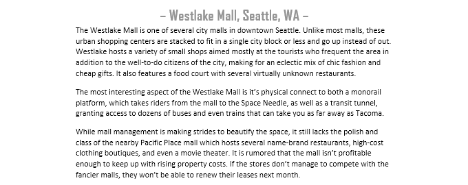 Preview of the Westlake Mall premade scenario (not final)