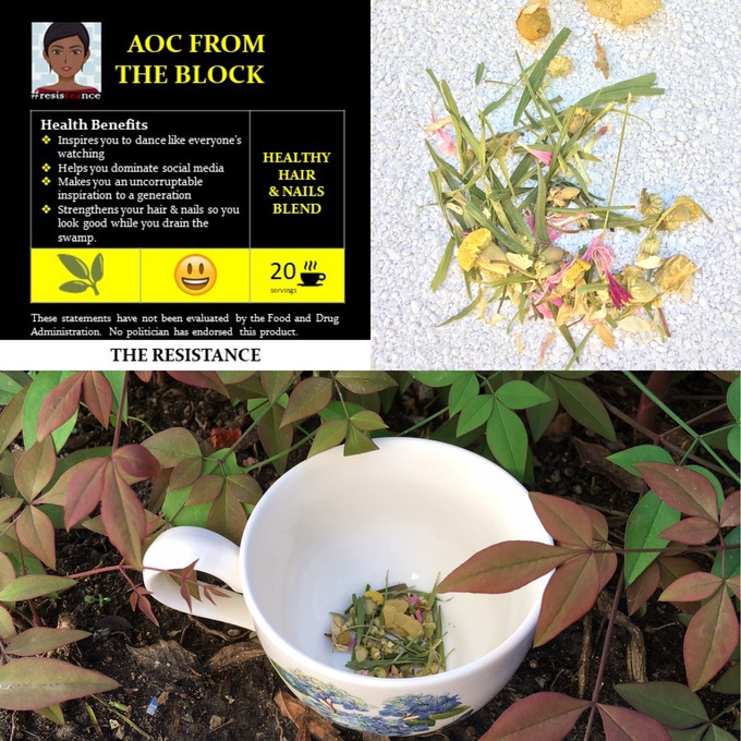 AOC FROM THE BLOCK (Healthy Hair & Nails) is a blend of chamomile, bamboo leaves, pineapple pieces, cornflower petals and natural flavors