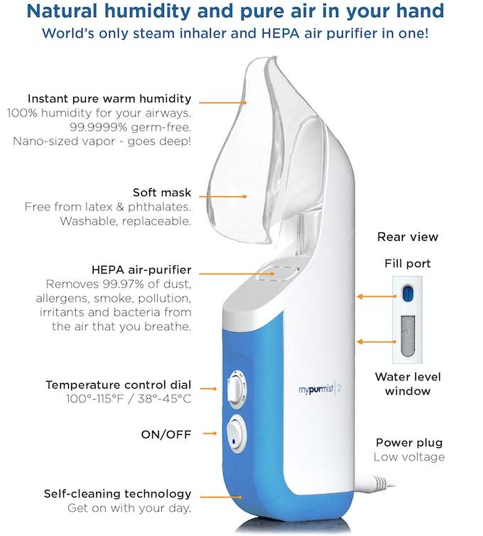 Mypurmist 2 - Personal Humidifier & Air Purifier by Vapore