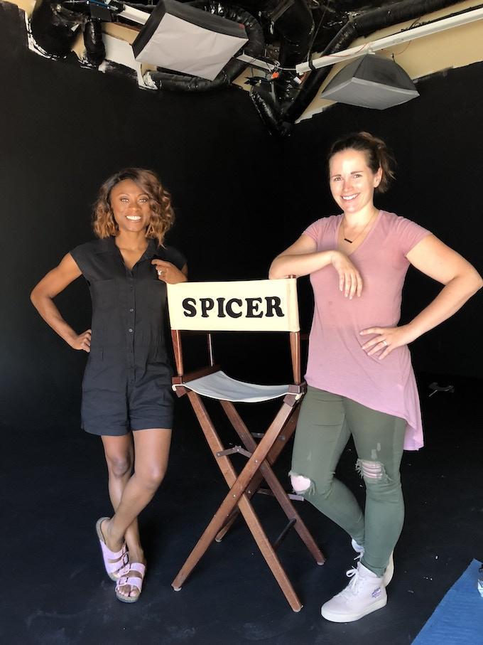 Angelina and Sarah on set!