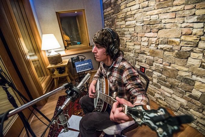 Alex tracking banjo at Echo Mountain Studios   Photo Credit: David Simchock