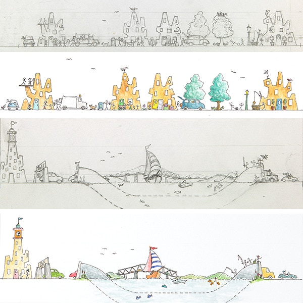 Slide One, the pencil images are part of a sketchbook that took years to work out the border design. These finished Pen & ink, watercolor pieces are two of 74 border artworks.