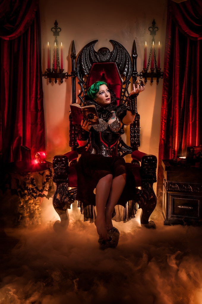 A shot on our vampire bat throne. Our castle set will follow a similar layout, but include 3D rock wall textures and stained glass cathedral windows. Image by Eric Anderson.