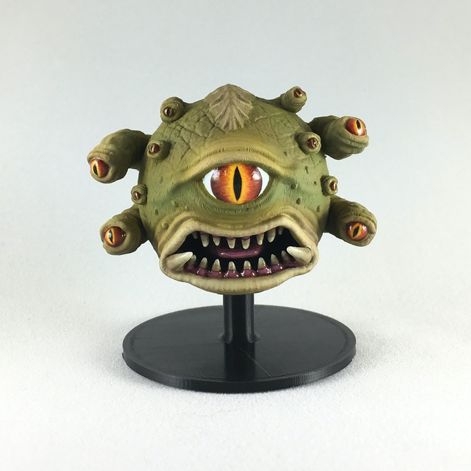 'Angry Ball of Eyes' upper body paint example shown on painting stand (included).