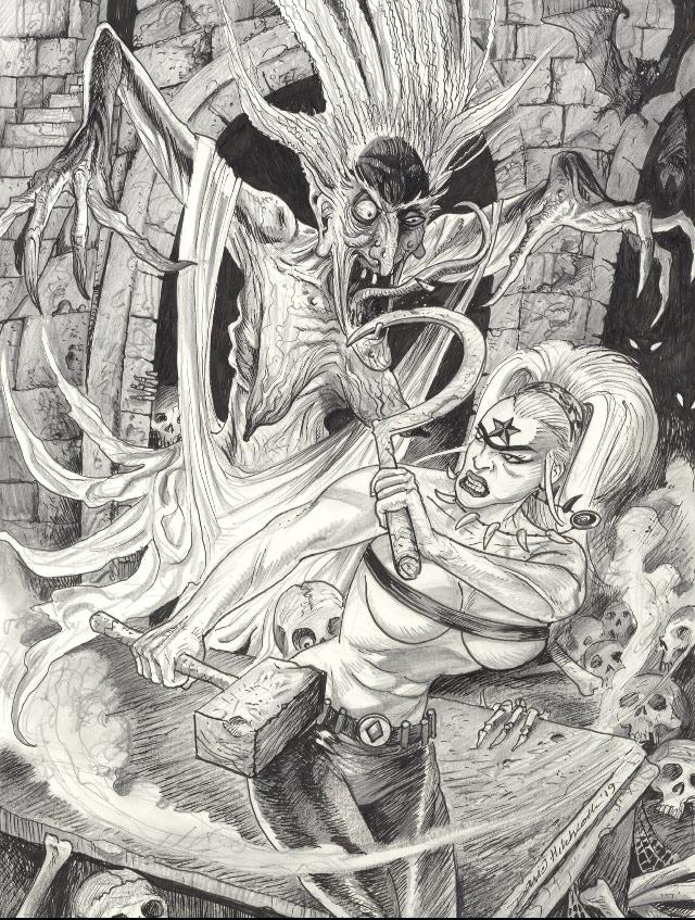David Hitchcock 'virgin' cover variant of Octobriana fighting Baba Yaga