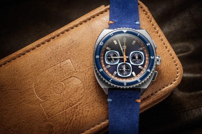 Version A Legera Standard Automatic on a blue suede strap, one of the optional free straps for the 200k stretch goal