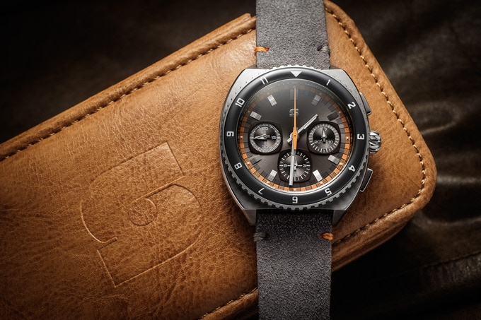 Version C Legera Standard Automatic on a grey suede strap, one of the optional free straps for the 200k stretch goal