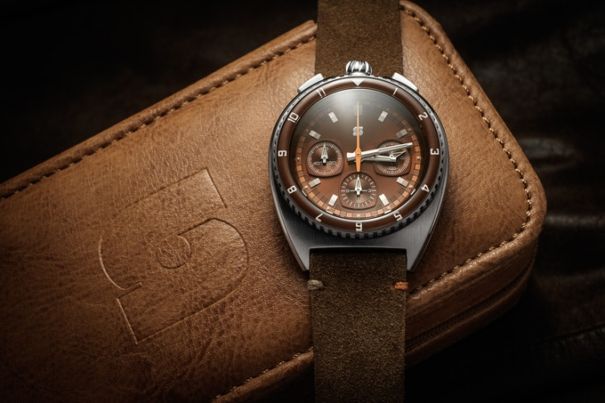 Version D Legera Bullhead Automatic  on a brown suede strap, one of the optional free straps for the 200k stretch goal