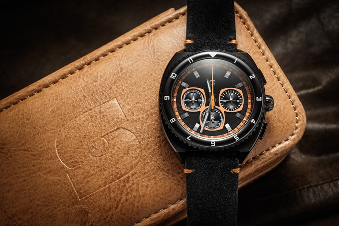 Version E Legera Standard Meca-Quartz on a black suede strap, one of the optional free straps for the 200k stretch goal