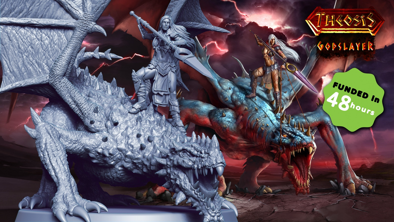 """Theosis: Godslayer is a mini expansion to the core game """"Theosis"""" with an amazing huge miniature."""