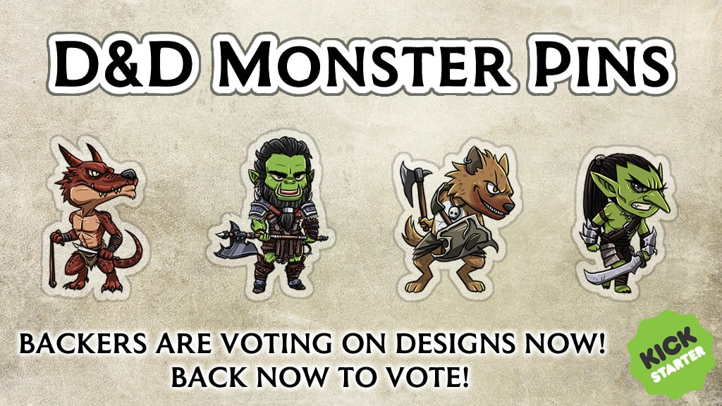 Project image for BACK NOW TO VOTE! Adorably Deadly D&D Monster Pin Badges (Canceled)