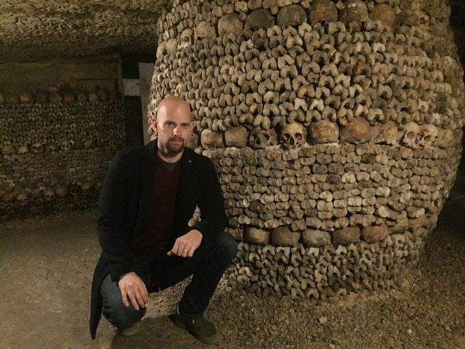 In the Catacombs of Paris - in search of the Philosopher's Stone.  I went above AND below for this project!