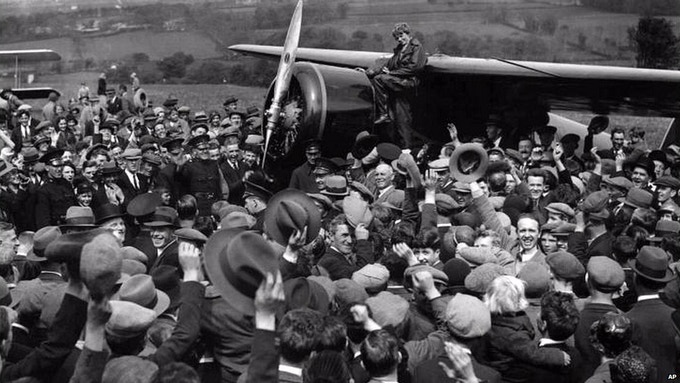1932, Amelia Earhart arrives Northern Ireland after her solo flight across the Atlantic after fighting fatigue and aircraft problems.