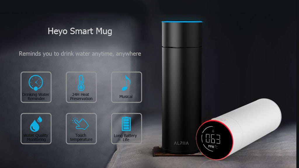 Heyo Smart Mug: Reminds You to Drink Water Anytime, Anywhere