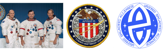 Apollo 16 Astronauts, Apollo 16 Badge & U.G.A. Badge