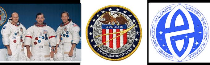 Apollo 16 Astronauts, Apollo 16 Badge & U.G.A. Badge