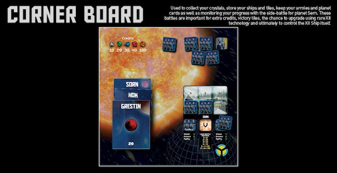 Each of the 4 Empire also has its own corner board - for fighting the Battle for Sern, storing crystals, cards, armies and ships