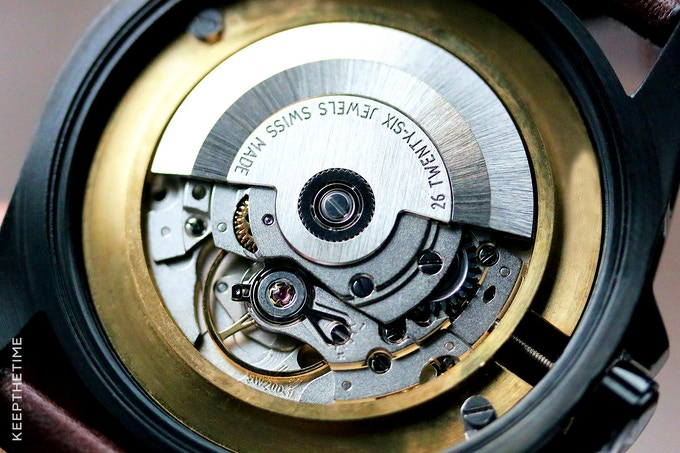 Sellita SW200 Automatic Movement in our PVD Sentinel (Photo Courtesy of KeepTheTime.com)