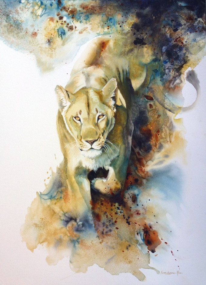 """Stalking lioness' print by Karen Laurence-Rowe"