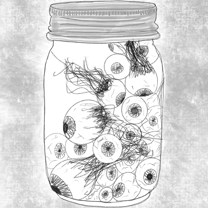 From the table 'Things Found in a Hag's Hut': A jar of eyes in a briny liquid. Put a drop of blood into it and the eyes swirl before each eye focuses in the direction of the blood donor.