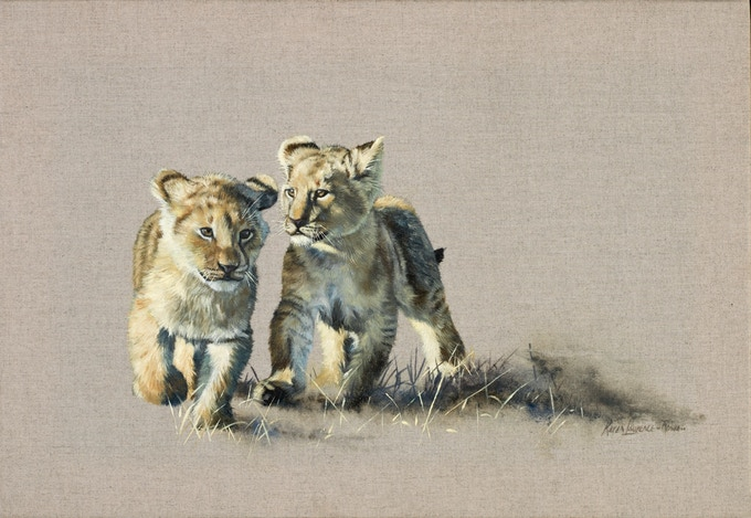 'Lion Cubs' print on canvas by Karen Laurence-Rowe