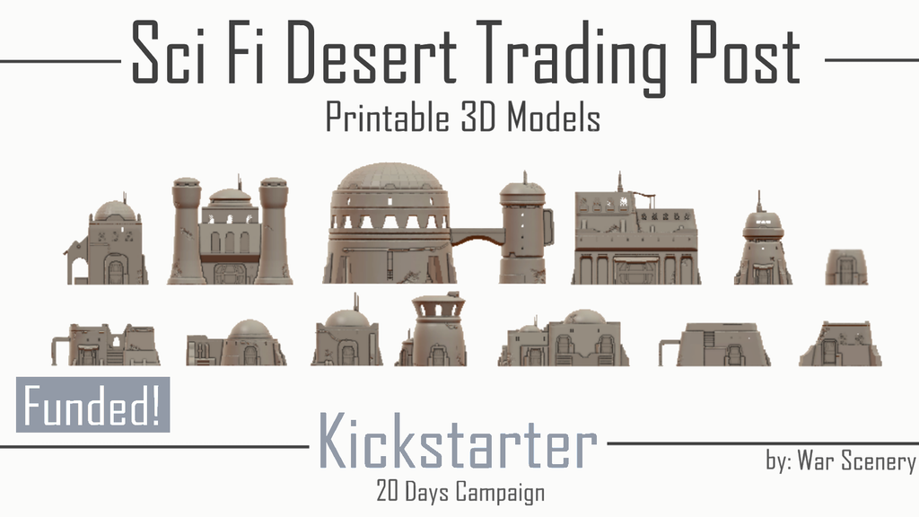3D Printable STL Files - Sci-Fi Desert Trading Post and Scatter Terrains