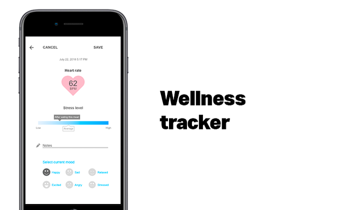 A wellness tracker to store your bio-feedback reactions to infused recipes