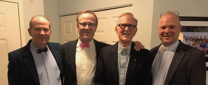 My uncles, grandpa, and dad wearing 3D printed bowties