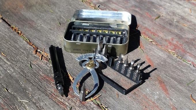 Caliper and tool holder.
