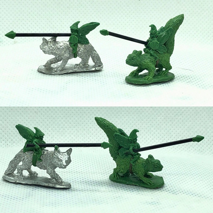 Fairy Cavalry four miniatures (two shown). Two on squirrels, one fox and boar rider. £10