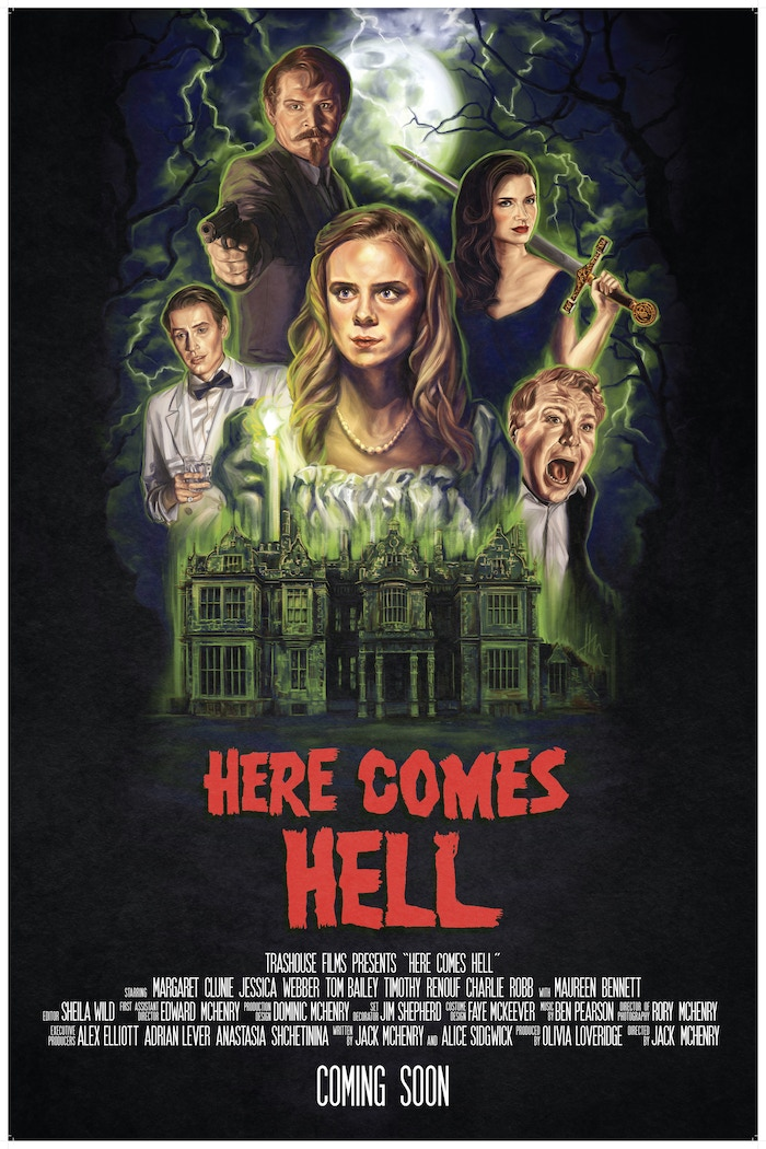 A 1930's dinner party descends into carnage, gore and demonic possession in HERE COMES HELL,  a genre-clashing horror comedy.
