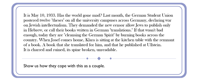 An example card, from early in the game, is directed to intellectual couple Klara and Josef.