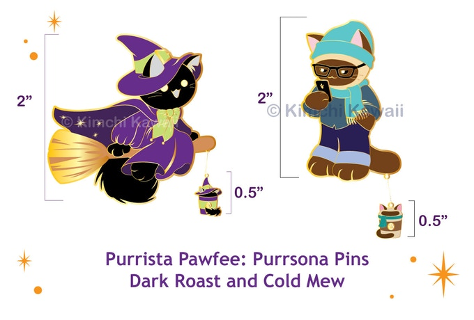 Two new pins - Dark Roast and Cold Mew in Purrsona form.